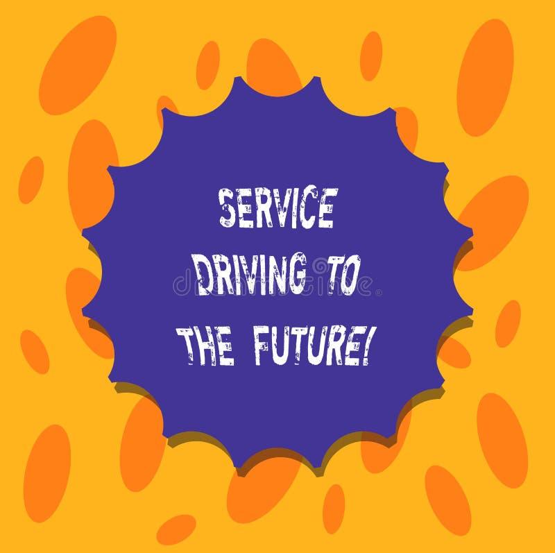 Σημείωση γραψίματος που παρουσιάζει Drive υπηρεσιών στο μέλλον Επιχειρησιακή φωτογραφία που επιδεικνύει τις σύγχρονες υπηρεσίες β ελεύθερη απεικόνιση δικαιώματος
