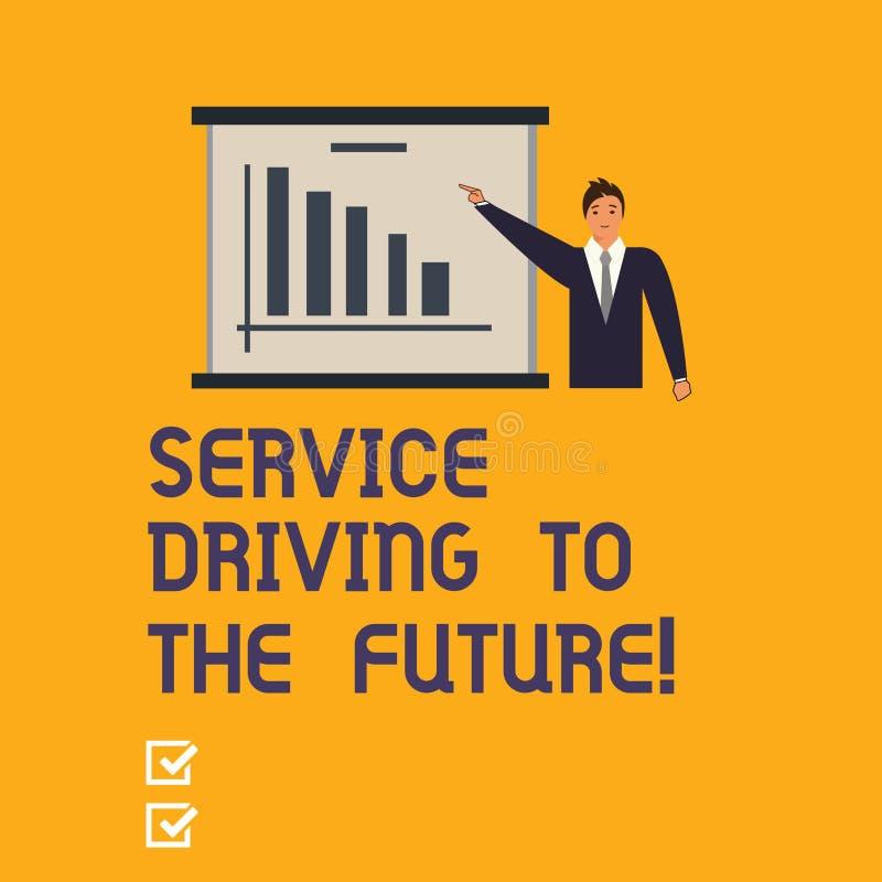 Σημείωση γραψίματος που παρουσιάζει Drive υπηρεσιών στο μέλλον Επιχειρησιακή φωτογραφία που επιδεικνύει τις σύγχρονες υπηρεσίες β διανυσματική απεικόνιση