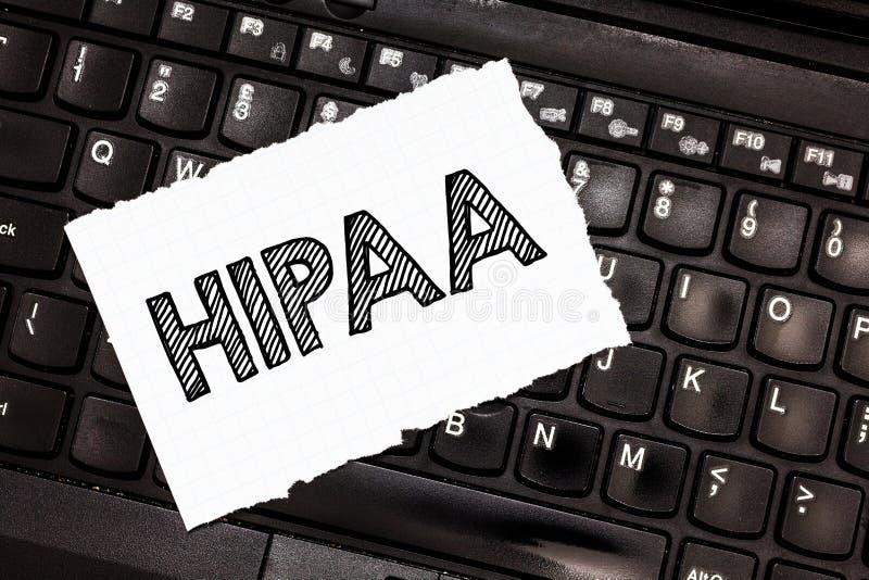 Σημείωση γραψίματος που παρουσιάζει Hipaa Στάσεις αρκτικολέξων επίδειξης επιχειρησιακών φωτογραφιών για την υπευθυνότητα φορητότη στοκ εικόνες με δικαίωμα ελεύθερης χρήσης