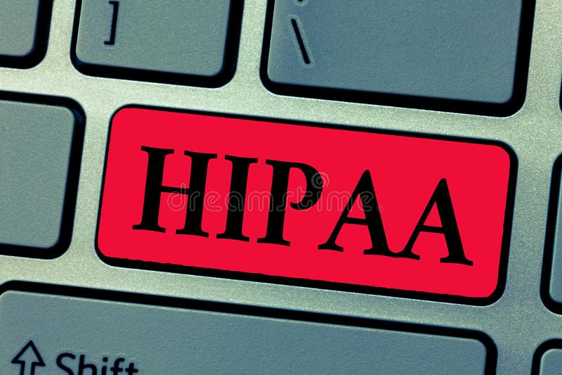 Σημείωση γραψίματος που παρουσιάζει Hipaa Στάσεις αρκτικολέξων επίδειξης επιχειρησιακών φωτογραφιών για την υπευθυνότητα φορητότη στοκ εικόνα