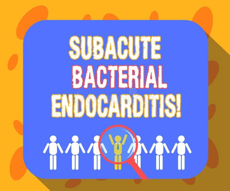 Σημείωση γραψίματος που παρουσιάζει Subacute βακτηριακό Endocarditis Μόλυνση επίδειξης επιχειρησιακών φωτογραφιών της εσωτερικής  διανυσματική απεικόνιση