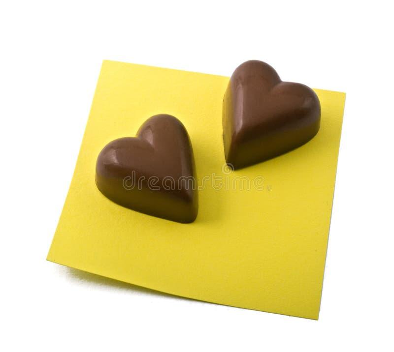 σημείωση καρδιών σοκολάτ στοκ εικόνα