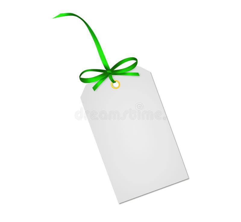 Σημείωση καρτών δώρων με την πράσινη κορδέλλα στοκ φωτογραφίες