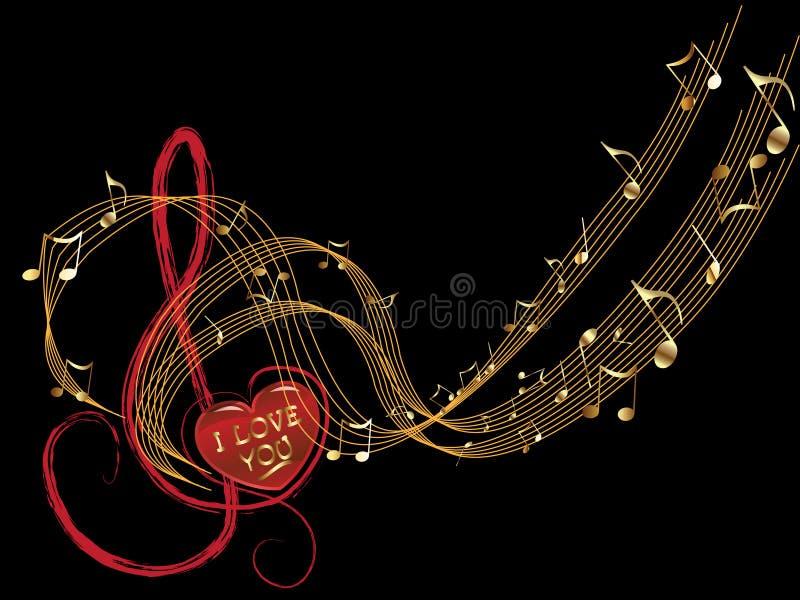 σημείωση μουσικής αγάπης διανυσματική απεικόνιση