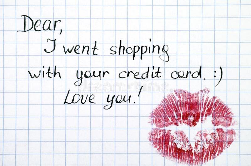 Σημείωση - πήγα με την πιστωτική κάρτα σας με το φιλί στοκ εικόνα με δικαίωμα ελεύθερης χρήσης