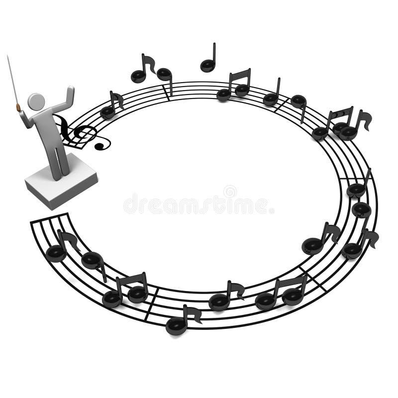 Σημείωση προσωπικού κύκλων και μουσικός αγωγός απεικόνιση αποθεμάτων