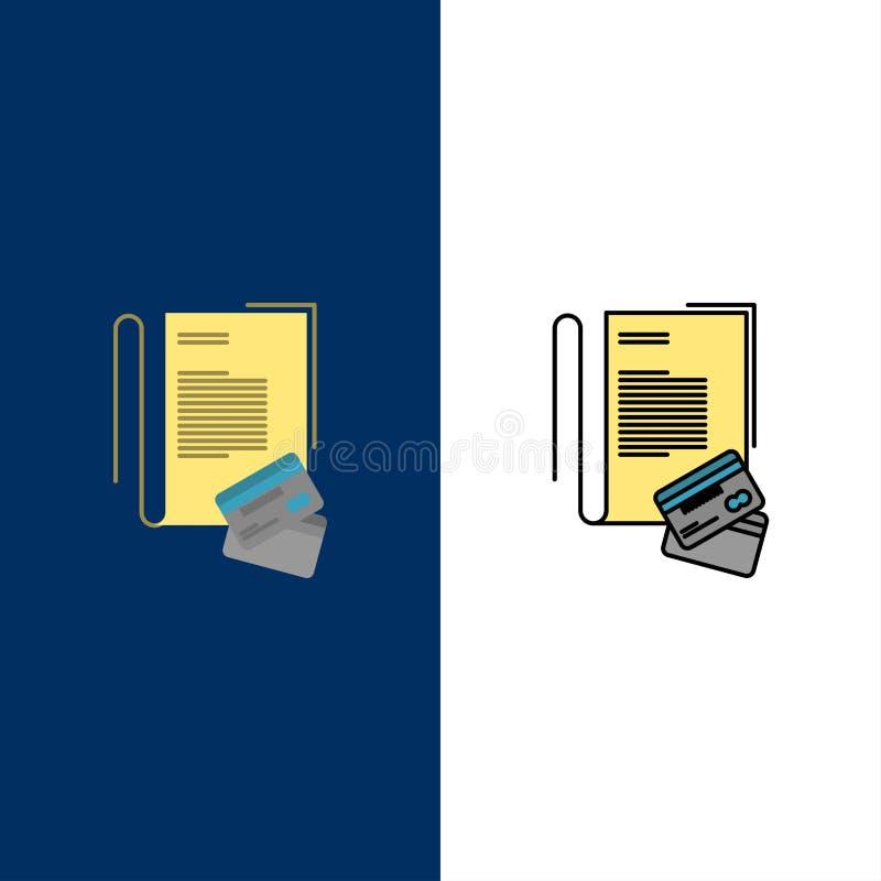 Σημείωση, σημειωματάριο, κάρτες, πίστωση, εικονίδια Επίπεδος και γραμμή γέμισε το καθορισμένο διανυσματικό μπλε υπόβαθρο εικονιδί διανυσματική απεικόνιση