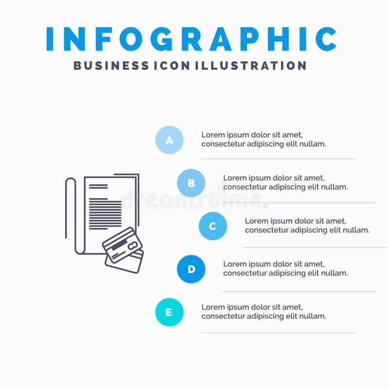 Σημείωση, σημειωματάριο, κάρτες, πίστωση, εικονίδιο γραμμών με το υπόβαθρο infographics παρουσίασης 5 βημάτων απεικόνιση αποθεμάτων