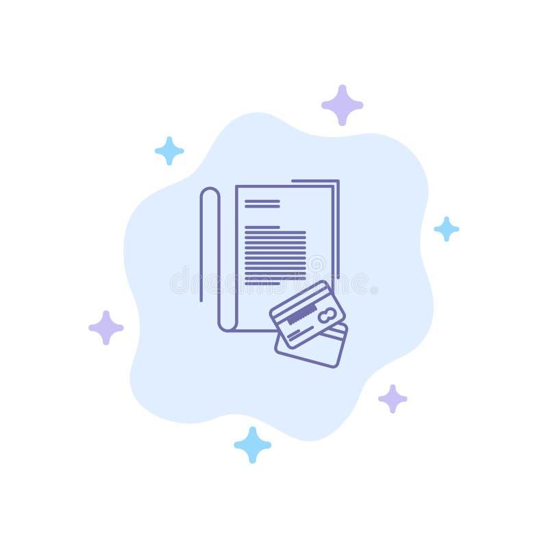 Σημείωση, σημειωματάριο, κάρτες, πίστωση, μπλε εικονίδιο για το αφηρημένο υπόβαθρο σύννεφων διανυσματική απεικόνιση