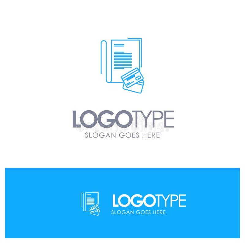 Σημείωση, σημειωματάριο, κάρτες, πίστωση, μπλε λογότυπο περιλήψεων με τη θέση για το tagline ελεύθερη απεικόνιση δικαιώματος