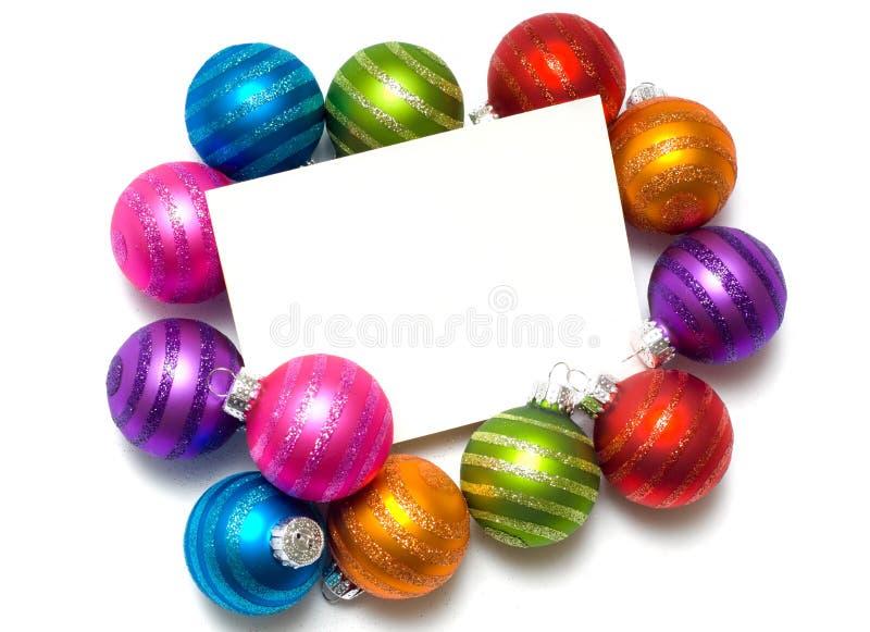 σημείωση Χριστουγέννων καρτών σφαιρών στοκ φωτογραφία με δικαίωμα ελεύθερης χρήσης