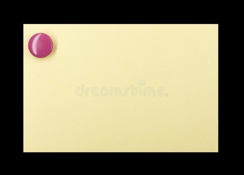 σημείωση pushpin κίτρινη στοκ εικόνα με δικαίωμα ελεύθερης χρήσης