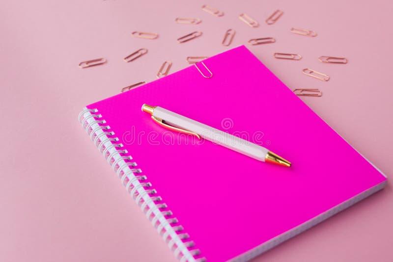 Σημειωματάριο με τους πλαστικούς ρόδινους συνδετήρες κάλυψης, μανδρών και εγγράφου χρώματος Θηλυκό σύνολο Ρόδινη ανασκόπηση Εκλεκ στοκ εικόνα με δικαίωμα ελεύθερης χρήσης