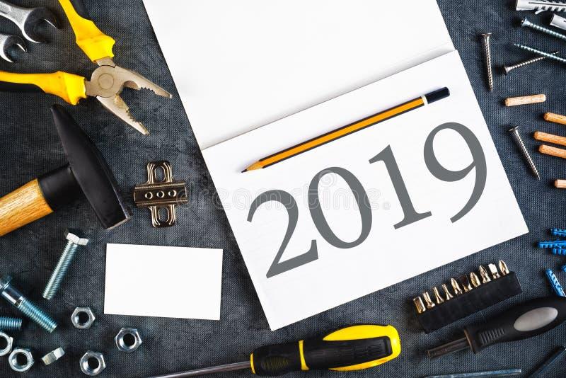 Σημειωματάριο 2019 νέο ψηφισμάτων έτους στοκ φωτογραφίες με δικαίωμα ελεύθερης χρήσης