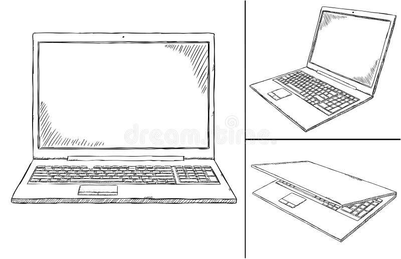 Σημειωματάριο doodle κατά 3 διαφορετικές απόψεις ελεύθερη απεικόνιση δικαιώματος