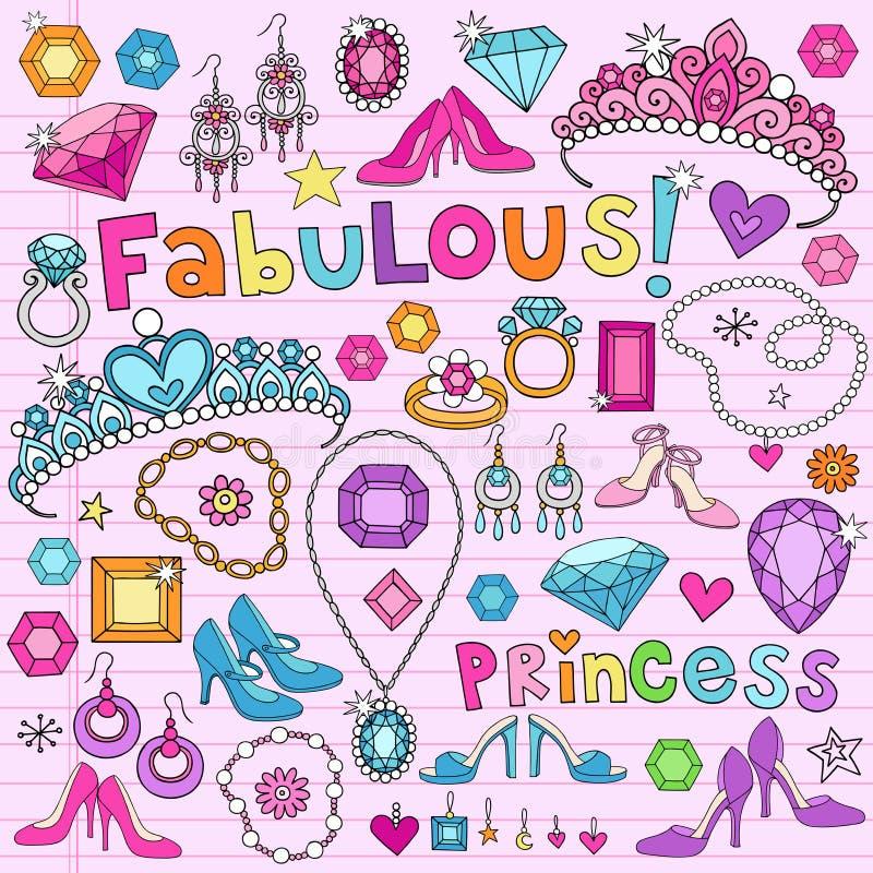 Σημειωματάριο Doodles στοιχείων σχεδίου πριγκηπισσών ελεύθερη απεικόνιση δικαιώματος