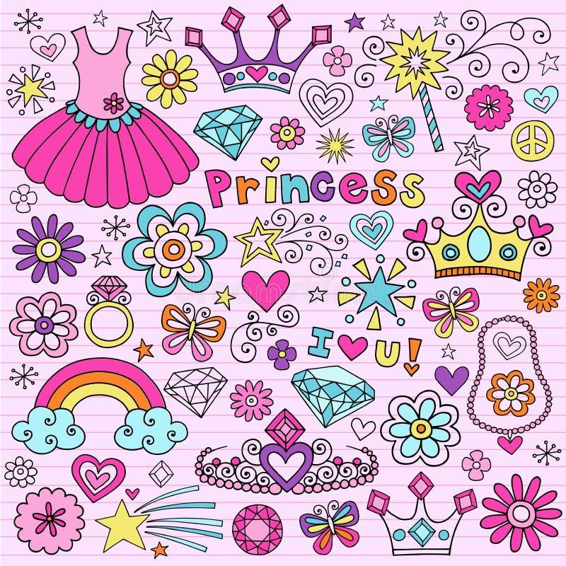 Σημειωματάριο Doodles Groovy πριγκηπισσών διανυσματική απεικόνιση