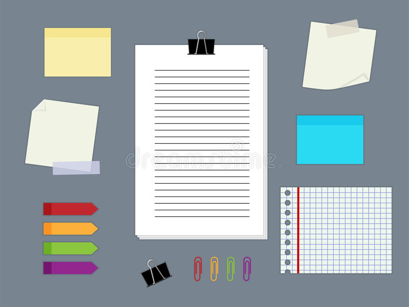Σημειώσεις εγγράφου διανυσματική απεικόνιση