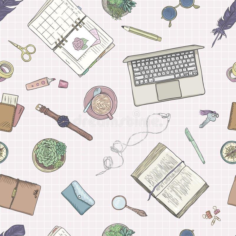 Σημειώσεις εργασίας, υπόβαθρο που μελετούν, δημιουργικός τρόπος ζωής, προγραμματισμός πρότυπο άνευ ραφής Συρμένα χέρι χρώματα κρη απεικόνιση αποθεμάτων