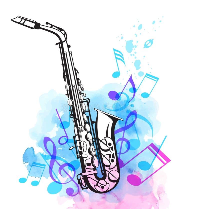 Σημειώσεις και saxophone μουσικής στο υπόβαθρο watercolor απεικόνιση αποθεμάτων
