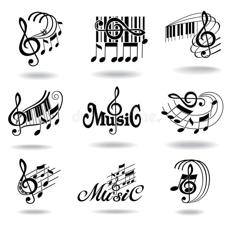 σημειώσεις μουσικής εικονιδίων στοιχείων σχεδίου που τίθενται διανυσματική απεικόνιση
