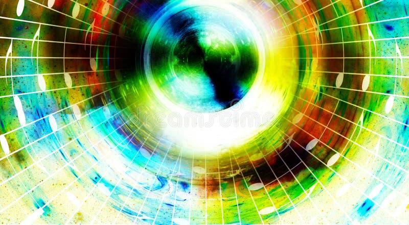 Σημειώσεις μουσικής και σκιαγραφία του ομιλητή μουσικής στο διάστημα με τα αστέρια αφηρημένο χρώμα ανασκόπησης ηλεκτρική μουσική  απεικόνιση αποθεμάτων