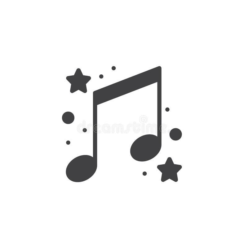 Σημειώσεις μουσικής με το διάνυσμα εικονιδίων αστεριών απεικόνιση αποθεμάτων