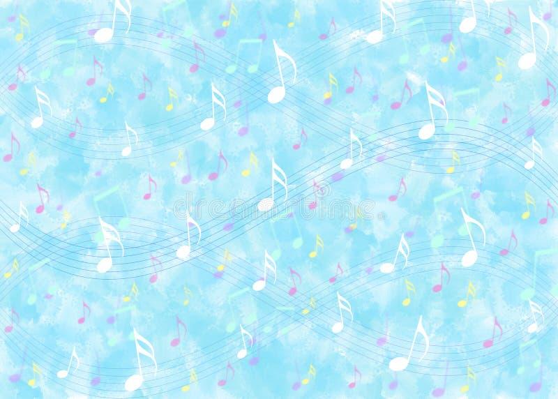 Σημειώσεις μουσικής στο μπλε υπόβαθρο σχεδίων Watercolor στοκ εικόνα με δικαίωμα ελεύθερης χρήσης