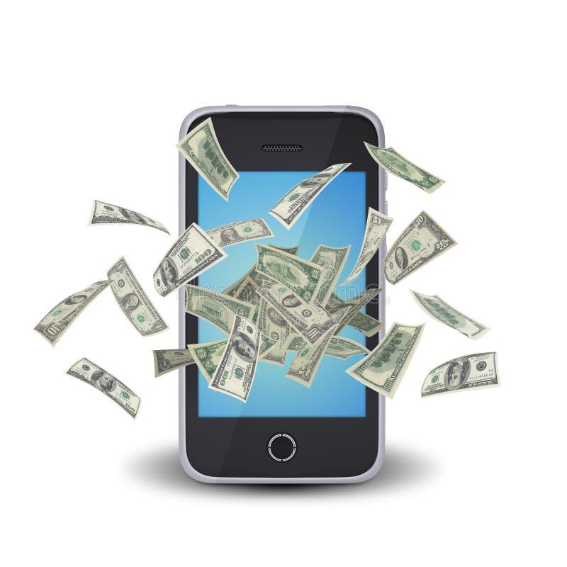 Σημειώσεις δολαρίων που πετούν γύρω από το έξυπνο τηλέφωνο απεικόνιση αποθεμάτων