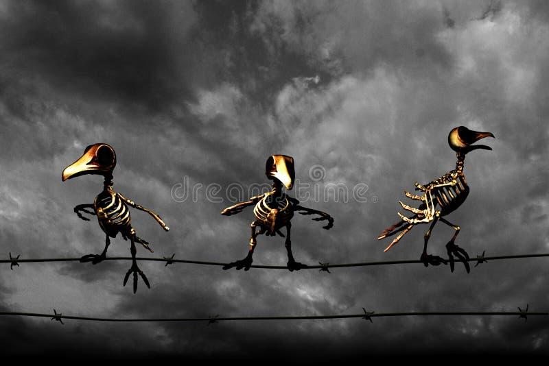 σημειώσεις σεληνόφωτου αποκριών ροπάλων ανασκόπησης Πουλιά σκελετών fractal λουλουδιών σχεδίου καρτών ανασκόπησης μαύρο καλό λευκ στοκ εικόνα