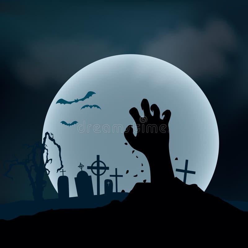 σημειώσεις σεληνόφωτου αποκριών ροπάλων ανασκόπησης Χέρι Zombie που αυξάνεται έξω από το έδαφος, VE ελεύθερη απεικόνιση δικαιώματος