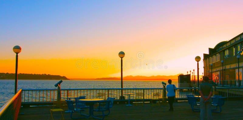 Σιάτλ, Ουάσινγκτον, Ηνωμένες Πολιτείες Αμερικής 10, 2019, Σιάτλ Σίπτοπ, νέα χρονιά το ηλιοβασίλεμα, Ουάσιγκτον, Ηπα στοκ φωτογραφία με δικαίωμα ελεύθερης χρήσης