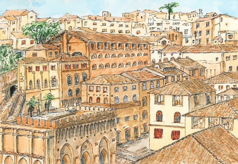 Σιένα αρχαία αρχιτεκτονική πόλεων της Τοσκάνης, Ιταλία ελεύθερη απεικόνιση δικαιώματος