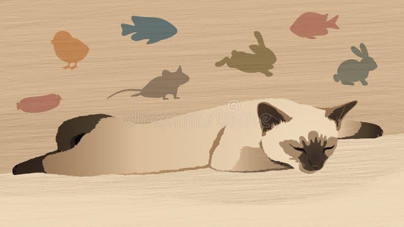 Σιαμέζο γατάκι ύπνου απεικόνιση αποθεμάτων