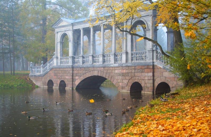 Σιβηρικό πρωί γεφυρών και φθινοπώρου στο πάρκο Ekaterininsky στοκ φωτογραφία με δικαίωμα ελεύθερης χρήσης