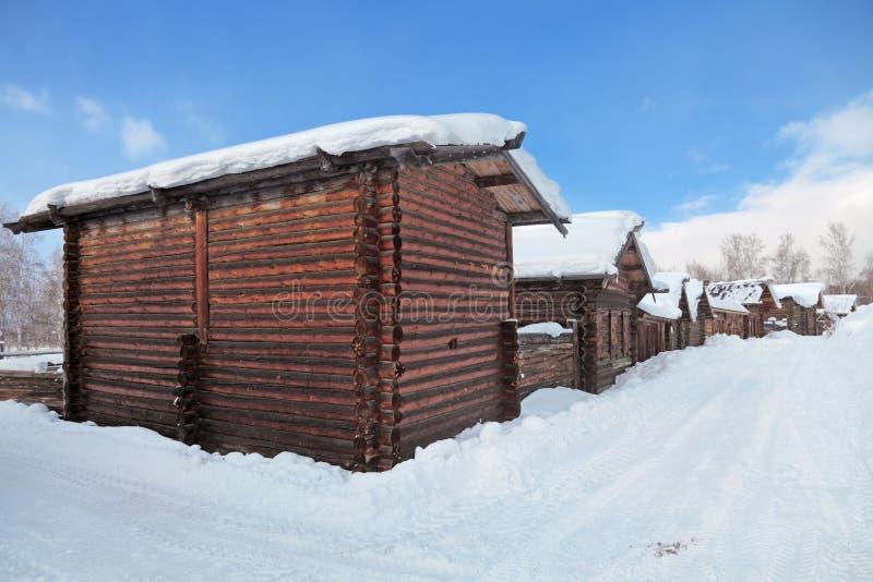 σιβηρικό χωριό στοκ εικόνες