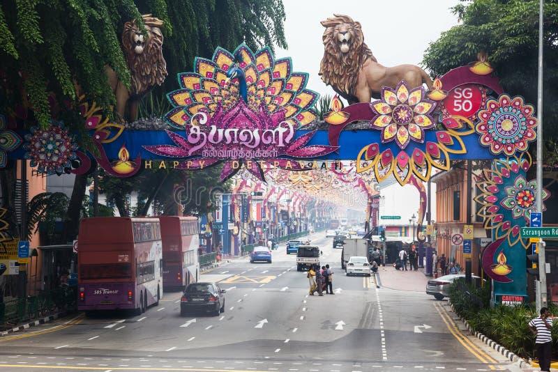 ΣΙΓΚΑΠΟΎΡΗ, ΣΙΓΚΑΠΟΎΡΗ - ΤΟ ΣΕΠΤΈΜΒΡΙΟ ΤΟΥ 2015 CIRCA: Λίγη περιοχή της Ινδίας της Σιγκαπούρης στοκ εικόνα με δικαίωμα ελεύθερης χρήσης