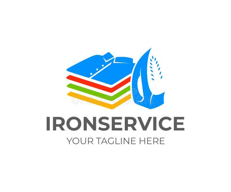 Σιδέρωμα και πλυντήριο, σίδηρος και σωρός των διπλωμένων πουκάμισων και των μπλουζών, σχέδιο λογότυπων Κάθετη θέση, λειτουργικός  ελεύθερη απεικόνιση δικαιώματος