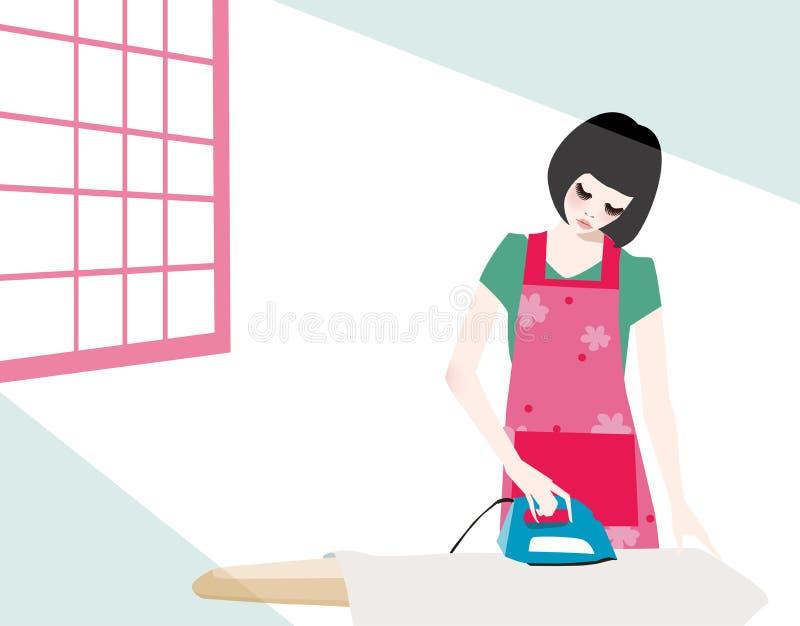 σιδέρωμα κοριτσιών ελεύθερη απεικόνιση δικαιώματος