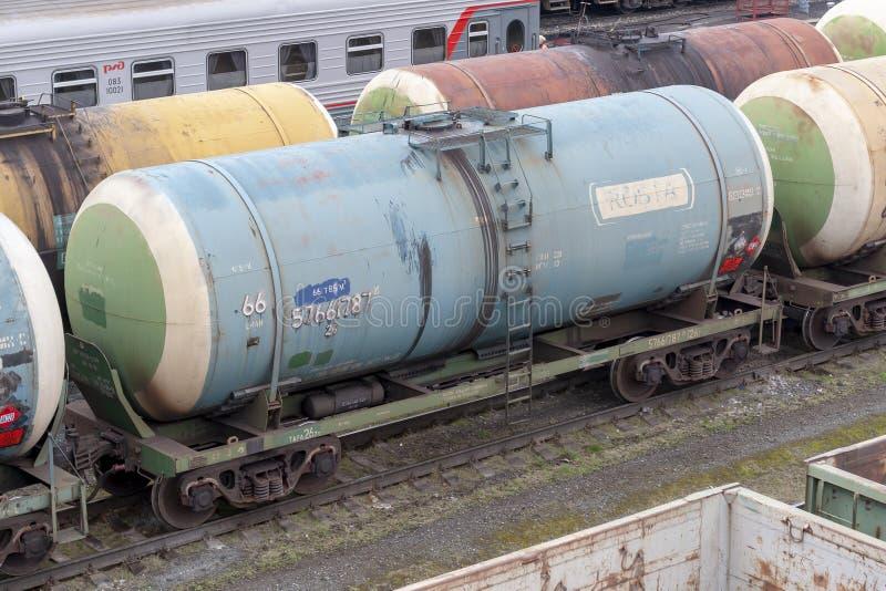 Σιδηροδρομικός σταθμός της πόλης Surgut Τραίνο δεξαμενών στοκ φωτογραφίες