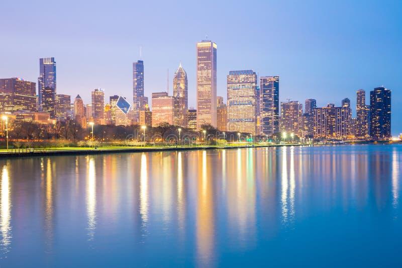 Σικάγο κεντρικός και λίμνη Μίτσιγκαν στοκ φωτογραφίες