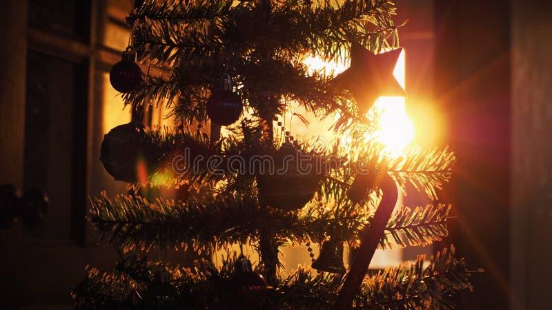 Σιλουέτα του χριστουγεννιάτικου δέντρου με διακόσμηση στο ηλιοβασίλεμα στοκ φωτογραφίες