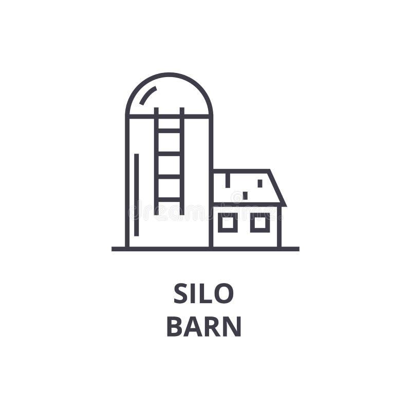 Σιλό, εικονίδιο γραμμών σιταποθηκών, σημάδι περιλήψεων, γραμμικό σύμβολο, διανυσματική, επίπεδη απεικόνιση απεικόνιση αποθεμάτων