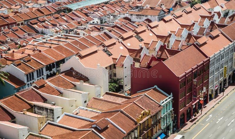 ΣΙΝΓΚΑΠΟΥΡΗ 3 ΙΟΥΝΊΟΥ 2017: Της Σιγκαπούρης Chinatown εναέρια άποψη κτηρίων περιοχής ιστορική στοκ εικόνες