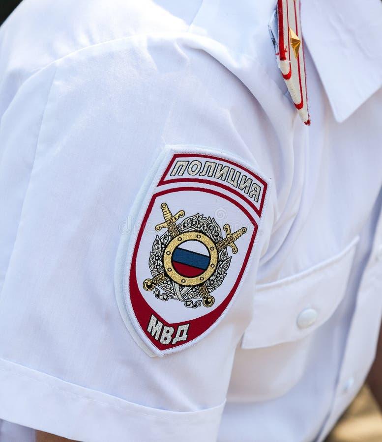 Σιρίτι στις στολές μανικιών του ρωσικού αστυνομικού στοκ φωτογραφία με δικαίωμα ελεύθερης χρήσης