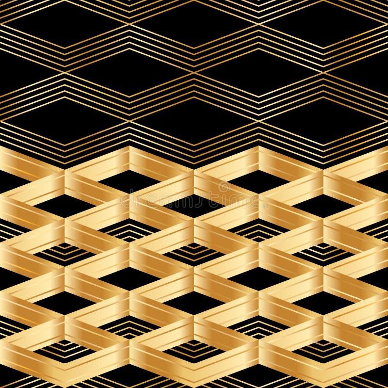 Σιριτιών χρυσό άνευ ραφής σχέδιο καρτών ντεκόρ μαύρο ελεύθερη απεικόνιση δικαιώματος