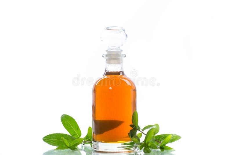 Σιρόπι μεντών σε ένα μπουκάλι γυαλιού σε ένα άσπρο υπόβαθρο στοκ φωτογραφία με δικαίωμα ελεύθερης χρήσης
