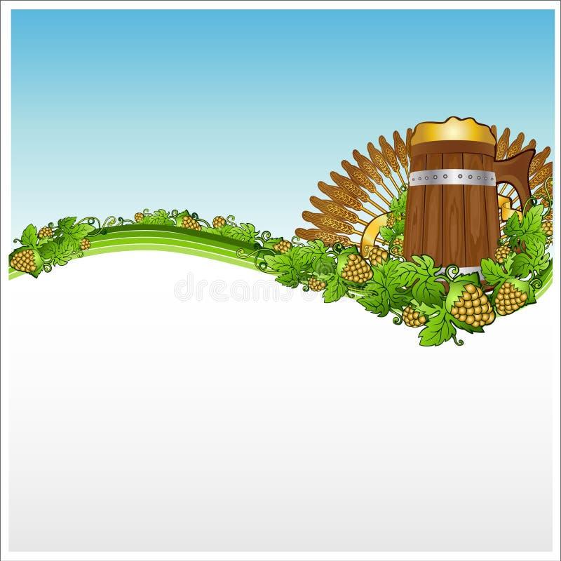 Σιτάρι λυκίσκου εμβλημάτων υποβάθρου μπύρας κουπών ελεύθερη απεικόνιση δικαιώματος