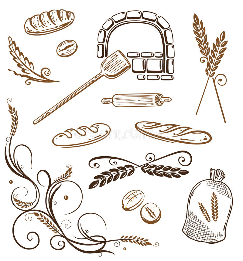 Σιτάρι, ψωμί, σίτος, αρτοποιείο απεικόνιση αποθεμάτων