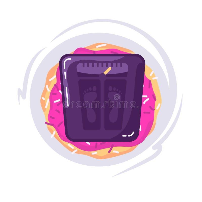 σιτηρέσιο έννοιας Τρόφιμα με την κλίμακα για μια ζυγίζοντας μηχανή Doughnut και κλίμακες Διανυσματική έννοια background απεικόνιση αποθεμάτων